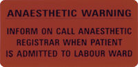 Anaesthetic Warning Labels