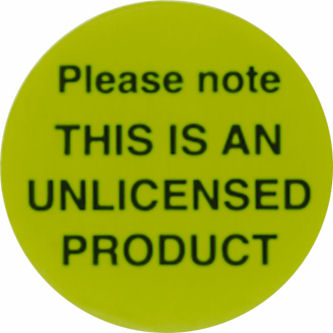 Unlicensed Product Label